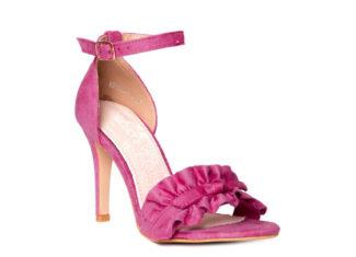 różowe zamszowe sandały